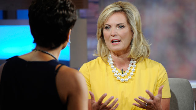 PHOTO: Ann Romney, wife of Presidential candidate Mitt Romney, talks to Robin Roberts, during an interview on Good Morning America, July 19, 2012.