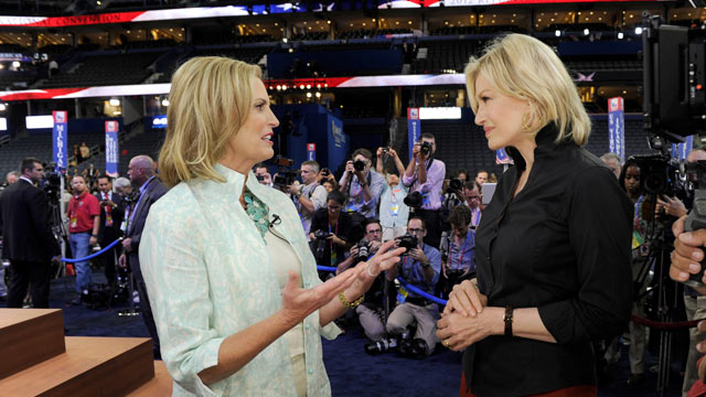 """PHOTO: Diane Sawyers exclusive interview with Ann Romney, taped the afternoon of her anticipated speech, August 282012 on """"World News with Diane Sawyer,""""."""