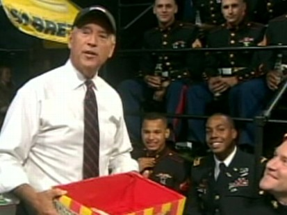 VIDEO: The vice president hands out food to U.S. forces on The Colbert Report.