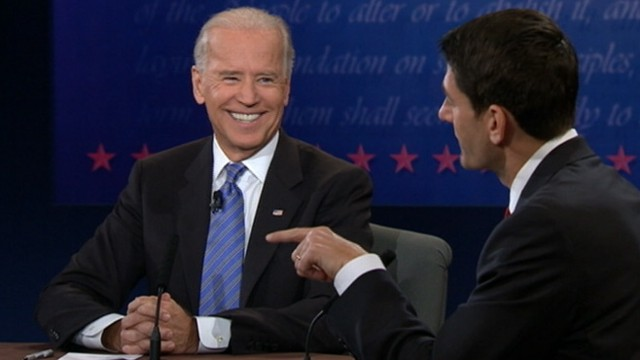 VIDEO: The vice president chuckled and grinned throughout the debate with Paul Ryan.