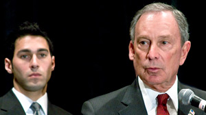 PHOTO New York Mayor Bloomberg (right) launched a television ad in Crystal City, Va., on April 13, 2009, featuring Omar Samaha