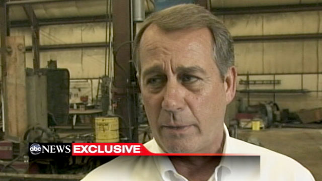 PHOTO: Speaker John Boehner talks exclusively with ABCs Jonathan Karl in Hamilton, Ohio.