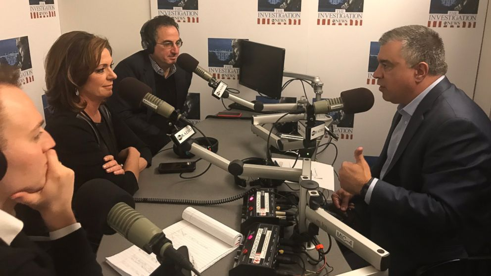 """ABC News' Chris Vlasto (back left), Kyra Phillips (center) and John Santucci (front left) interview President Trump's former deputy campaign manager David Bossie (right) for """"The Investigation"""" podcast."""