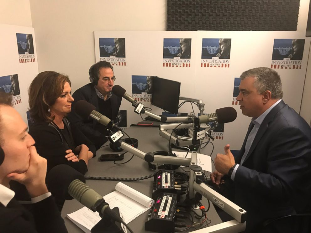 ABC News Chris Vlasto (back left), Kyra Phillips (center) and John Santucci (front left) interview President Trumps former deputy campaign manager David Bossie (right) for The Investigation podcast.