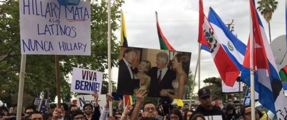 PHOTO: Protesters outside East Los Angeles College in Los Angeles, where Democratic presidential front-runner Hillary Clinton held a rally on May 5, 2016.