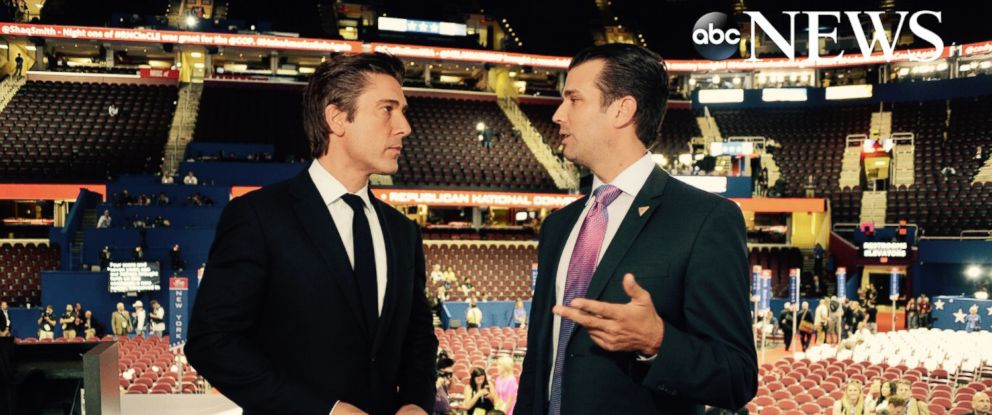 PHOTO: David Muir speaks with Donald Trump Jr. hours before he was expected to speak during the Republican National Convention in Cleveland, Ohio, July 19, 2016.