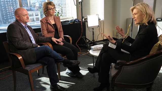 PHOTO: Diane Sawyer interviews Gabby Giffords and Mark Kelly, Jan. 6, 2013.