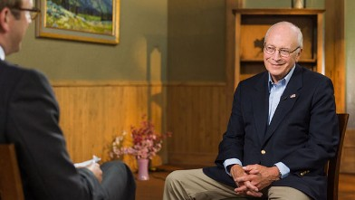 PHOTO: Former Vice President Dick Cheney speaks to ABC's Jonathan Karl in his first interview since his heart transplant.