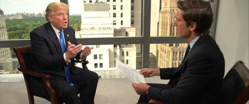 PHOTO: Republican presidential candidate Donald Trump is interviewed by ABCs David Muir, June 21, 2016.