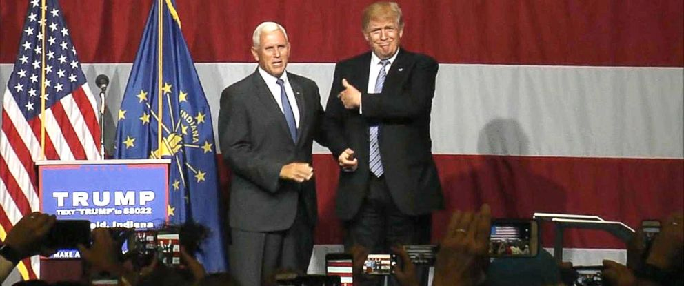 PHOTO: Gov. Mike Pence and Donald Trump appear onstage during a campaign rally in Westfield, Ind., July 12, 2016.