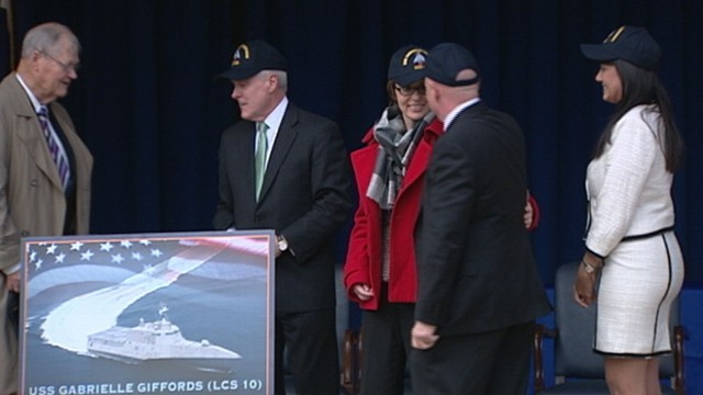 VIDEO: Former Rep. Gabby Giffords attends Pentagon ceremony of Navy ship naming.