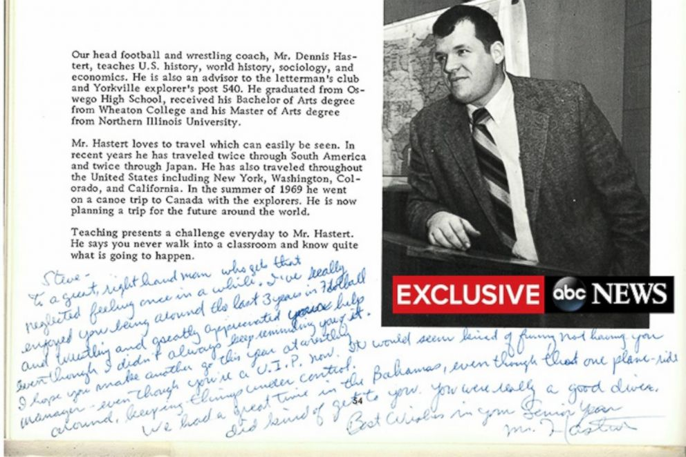 PHOTO: Dennis Hasterts note to Steve Reinboldt in Reinboldts 1970 high school yearbook.