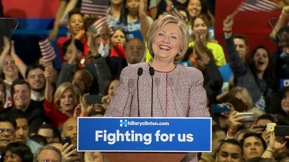 Democratic presidential candidate Hillary Clinton onstage at her New York presidential primary night rally in New York City on April 19, 2016.