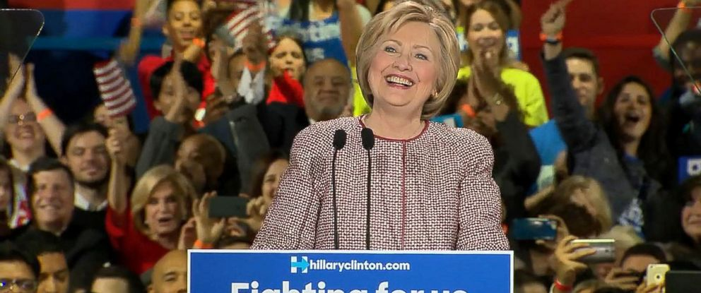 PHOTO: Democratic presidential candidate Hillary Clinton onstage at her New York presidential primary night rally in New York City on April 19, 2016.