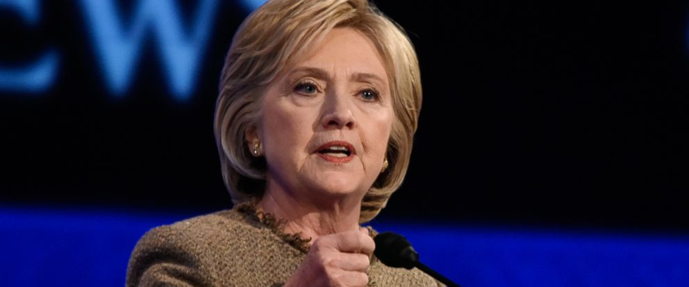 PHOTO: Hillary Clinton speaks during a presidential debate at St. Anselm College in Manchester, New Hampshire, Dec. 19, 2015.