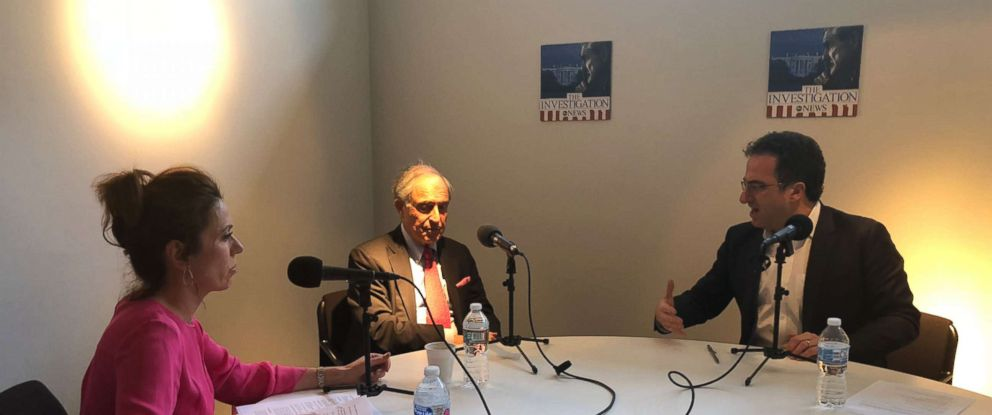 "Michael Cohens lawyer Lanny Davis (center) is seen here with ABC News Kyra Phillips (left) and ABC News Chris Vlasto (right) during an interview for ""The Investigation"" podcast."