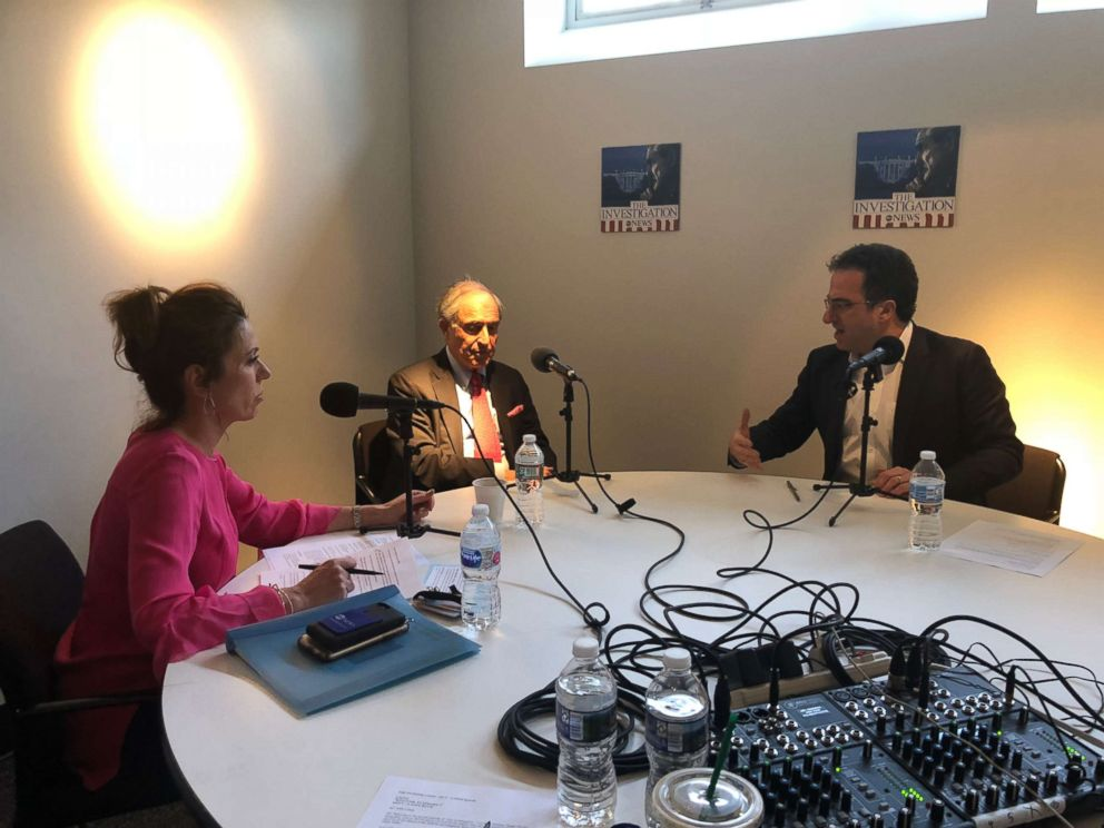 Michael Cohens lawyer Lanny Davis (center) is seen here with ABC News Kyra Phillips (left) and ABC News Chris Vlasto (right) during an interview for The Investigation podcast.