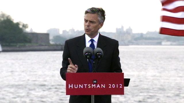 PHOTO:Jon Huntsman holds a press conference at Liberty Park in New Jersey, June 21, 2011.