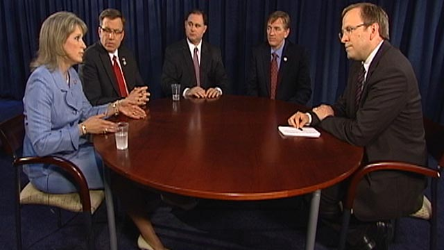 PHOTO: Jonathan Karl sits down with four freshmen members of Congress.
