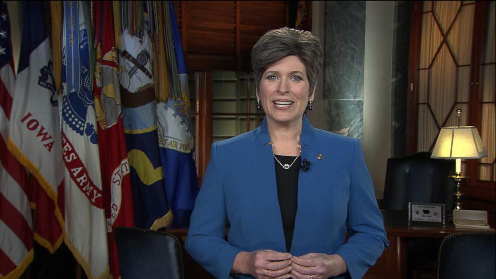 Iowa Senator Joni Ernst gives the Republican response following the State of the Union, Jan. 20, 2015 in Washington.