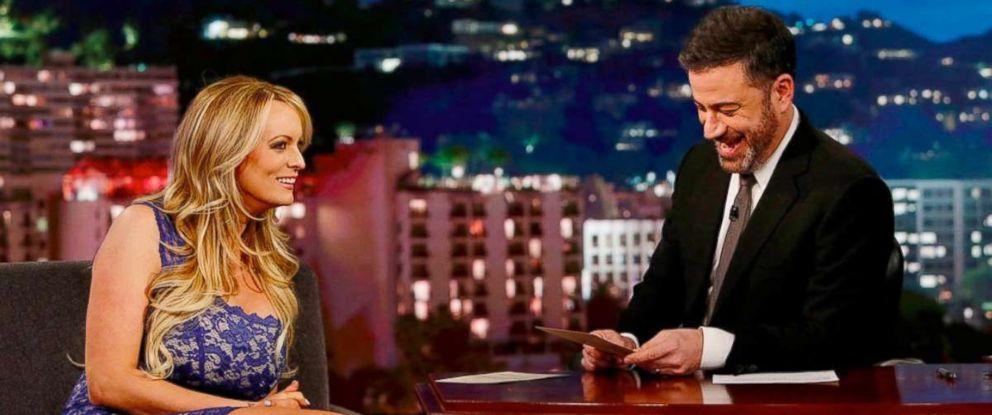 "PHOTO: Adult actress Stormy Daniels on ""Jimmy Kimmel Live"" on Jan. 30, 2018."