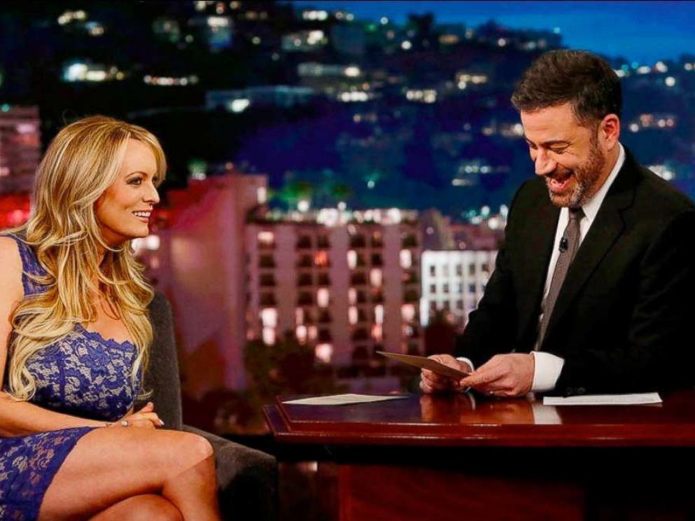 PHOTO: Adult actress Stormy Daniels on Jimmy Kimmel Live on Jan. 30, 2018.