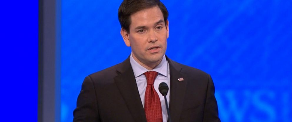 PHOTO: Republican presidential candidate Sen. Marco Rubio answers a question during a Republican presidential primary debate at the St. Anselm College on Feb. 6, 2016, in Manchester, N.H.