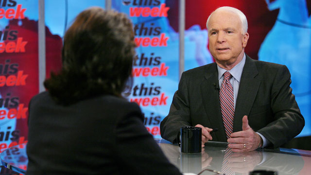 "PHOTO: Sen. John McCain (R-Ariz.) appears on ""This Week with Christiane Amanpour."""