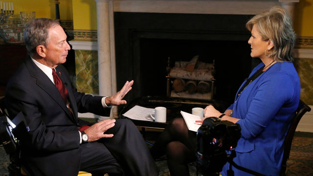 "PHOTO: ""Nightline"" anchor Cynthia McFadden talks with New York City Mayor Michael Bloomberg about his thoughts on gun control in the wake of the Sandy Hook Elementary School shooting."