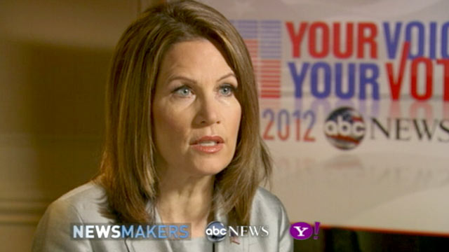 PHOTO: GOP Candidate Michele Bachmann gives an exclusive interview to ABC News Ron Claiborne, Nov. 8, 2011.