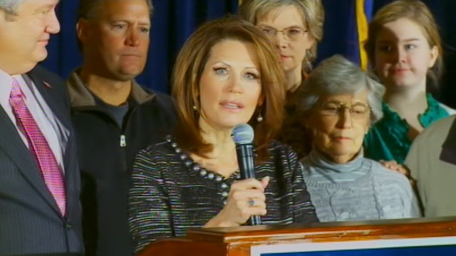 PHOTO: Republican Presidential Candidate Michele Bachmann suspends her campaign after a poor showing during the Iowa Caucuses, Jan. 4, 2011.