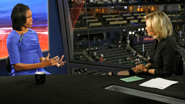 PHOTO: Diane Sawyer, right, interviews first lady Michelle Obama, in Charlotte, N.C., Sept. 5, 2012.