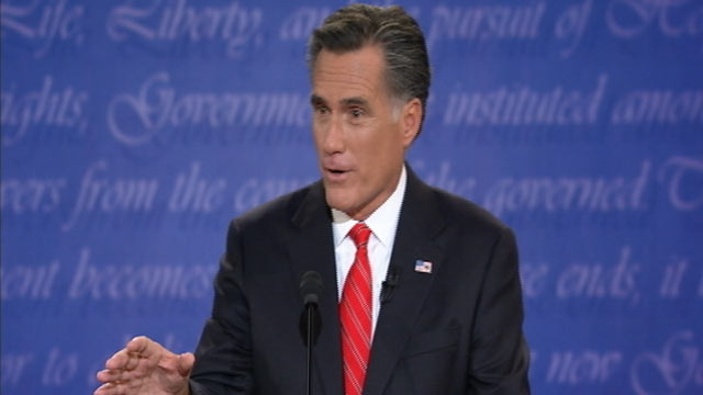 PHOTO: Republican presidential candidate Mitt Romney speaks during his debate with U.S. President Barack Obama at Magness Arena at the University of Denver in Denver, Oct. 3, 2012.