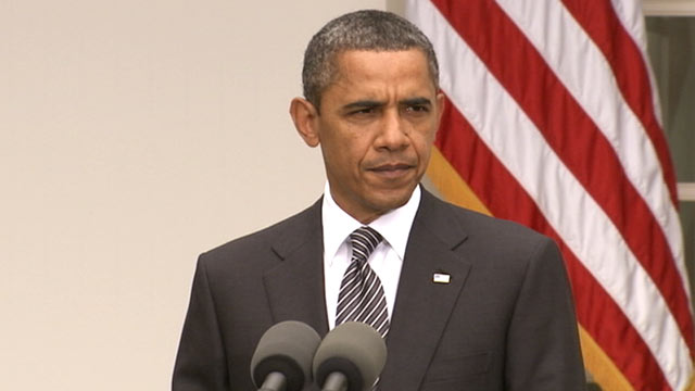 PHOTO: US President Barack Obama delivers remarks on Gadhafis death, Oct. 2011.
