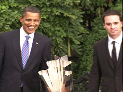 Video of President Obama welcoming NASCAR drivers, including Jimmie Johnson, to the White House.