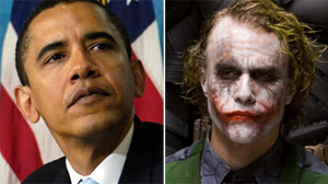 The mystery of Batman?s The Joker has met American politics in a new poster that has surfaced on the streets of LA.