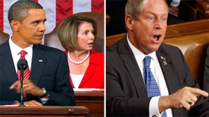 Nancy Pelosi reacts to an outburst from Joe Wilson