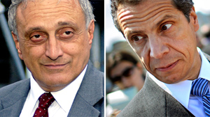 A new poll shows surging Tea Party candidate Carl Paladino, shown in this file photo, left, within striking distance of popular Democratic Attorney General Andrew Cuomo, shown right..