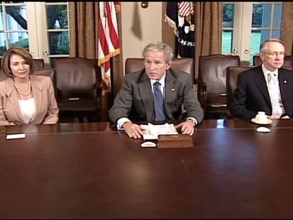 pic of nancy pelosi, george bush, harry reid at the white house
