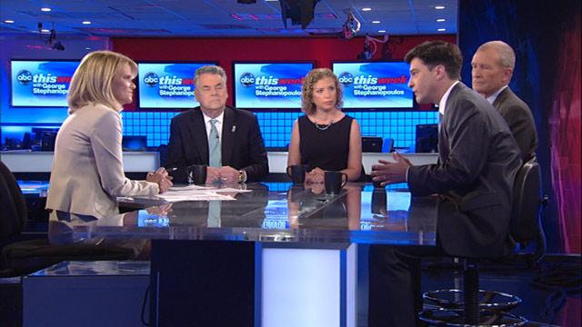 PHOTO: Representative Peter King (R) New York, Representative Debbie Wasserman Schultz (D) Florida, Former Director of National Intelligence Admiral Dennis Blair (Ret.), and The New York Times reporter Mark Mazzetti on This Week