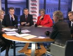 """PHOTO: ABC News George Will, Rep David Schweikert (R) Arizona, ABC News Contributor and Democratic Strategist Donna Brazile, NPRs """"Morning Edition"""" Host Steve Inskeep, and Facebook Co-Founder and """"The New Republic"""" owner and publisher Chris Hughes on T"""