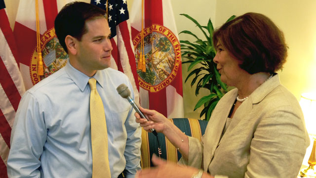 PHOTO: Ann Compton interviews Florida Sen. Marco Rubio after he was named the Tea Partys vice presidential pick.
