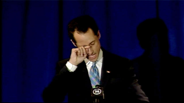 PHOTO: A tearful Anthony Weiner.