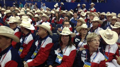PHOTO: ABC's John Parkinson tweets this photo of the Texas delegation sporting their matching Texas flag shirts and cowboy hats.