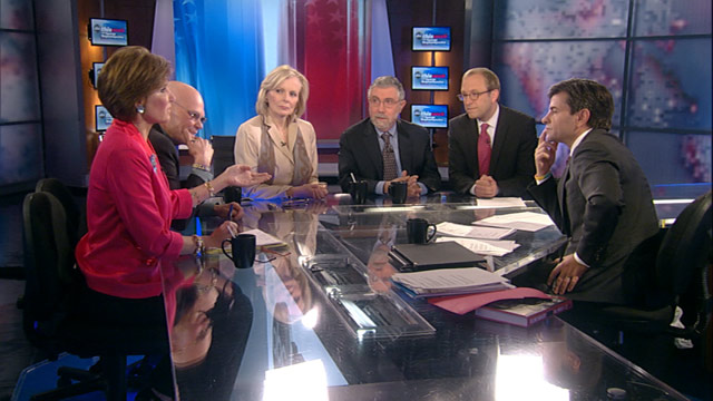 PHOTO: Democratic Strategist James Carville, Republican Strategist Mary Matalin, New York Times Columnist and Nobel Prize-Winning Economist Paul Krugman, Wall Street Journal Columnist Peggy Noonan, and ABC News Senior Political Correspondent Jonathan Karl
