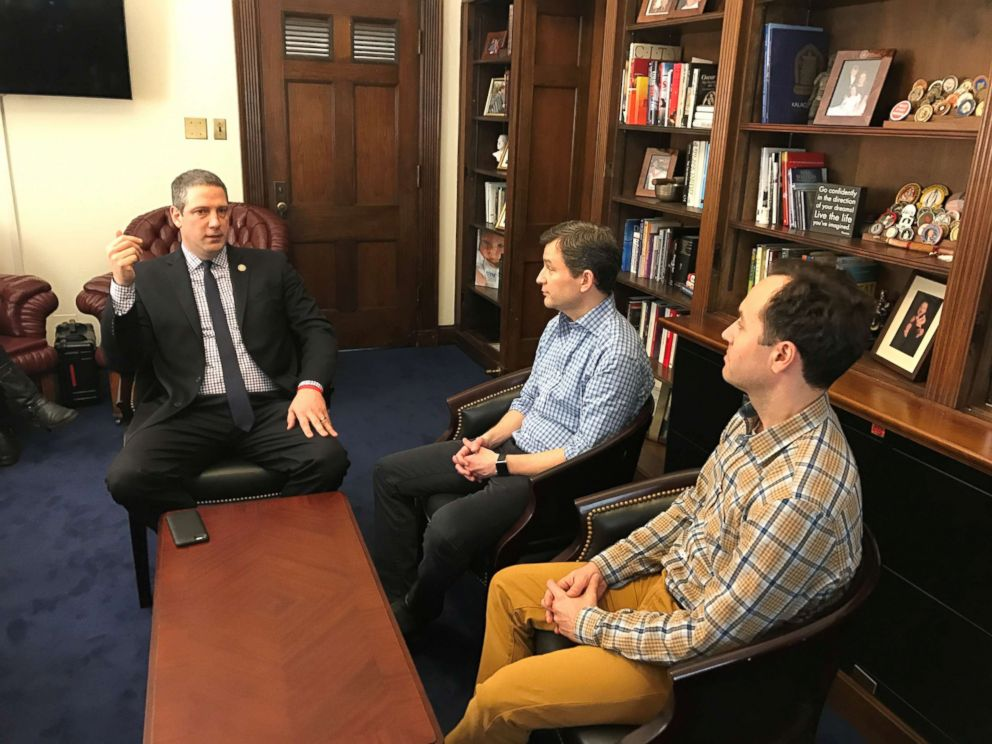 Rep. Tim Ryan, D-Ohio, left, is seen here at his Capitol Hill office with ABCs Dan Harris, center, and meditation teacher Jeff Warren, right, for the 10% Happier podcast.
