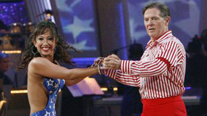 "PHOTO Former Congressman Tom Delay, right, dances with partner Cheryl Burke, October 5, 2009, on ABCs ""Dancing with the Stars."""