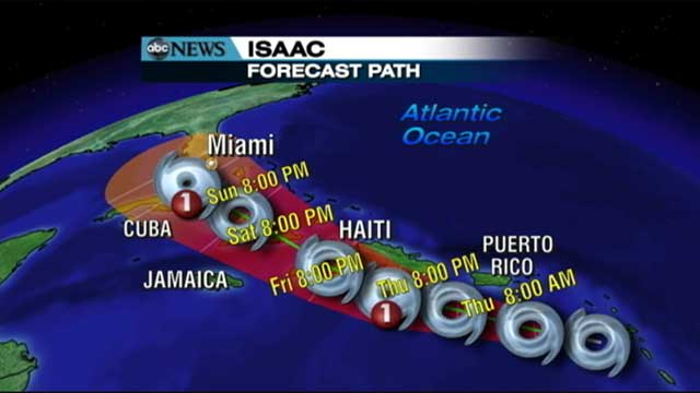 PHOTO: The latest projection of the path of Tropical storm Isaac is seen here, Aug. 24, 2012.