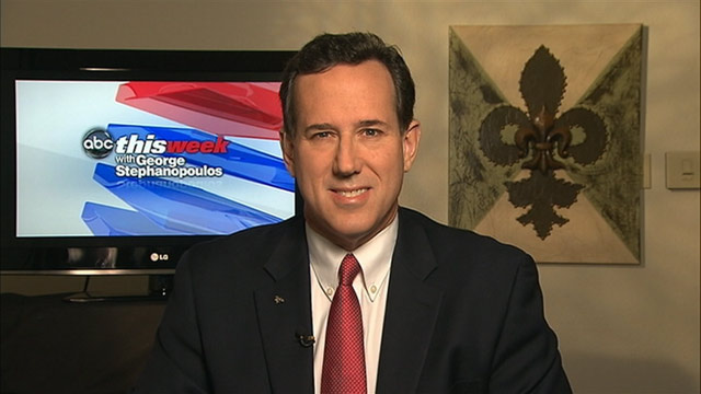"PHOTO: Republican Presidential Candidate Rick Santorum on ""This Week."""