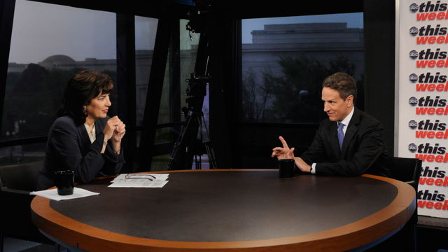 PHOTO: Treasury Secretary Timothy Geithner appears on This Week with Christiane Amanpour